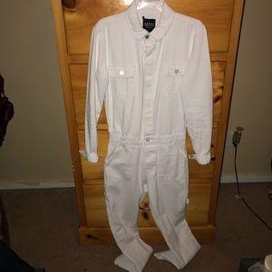 Long Length Denim Jumpsuit In White